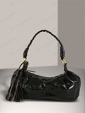 Implora Black Cobra Skin Braided Tassel Bag