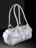 Free Shipping on Implora Natural Cobra Skin Woven Satchel Bag